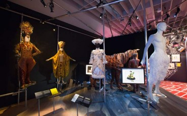Installation view of Curtain Up Celebrating 40 Years of Theatre in London and New York at the V&A - 9 Feb - 31 August, 2016.