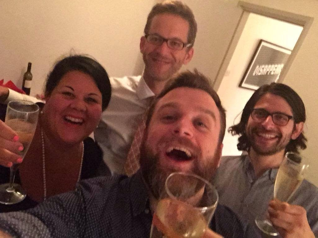 Left (clockwise): Amy, Richard, Ben and Rob (me!) enjoying a glass of Prosecco before sharing news of the listing.