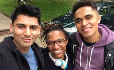 Antonio Aakeel, Makalla McPherson and Josh Williams on the set of Doctors