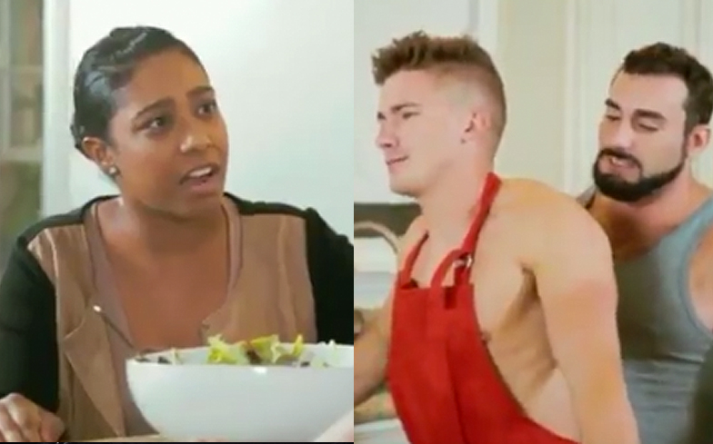 gay porn right in front of my salad
